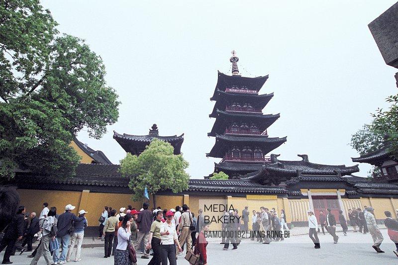 Tourists at a shrine, The outside scenery of Xuanmiaoguan in Suzhou, Suzhou City, Jiangsu Province of People's Republic of China