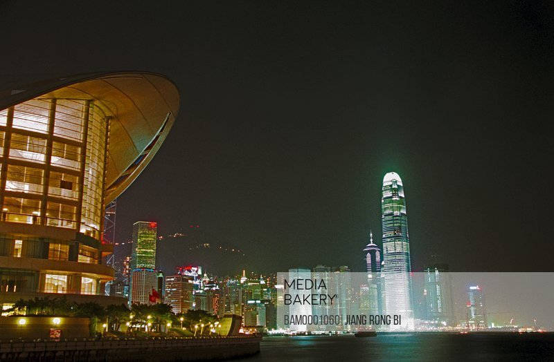 Low angle view of illuminated cityscape at night, The night scenery of Tongluo Bay, Hongkong special administration region of People's Republic of China