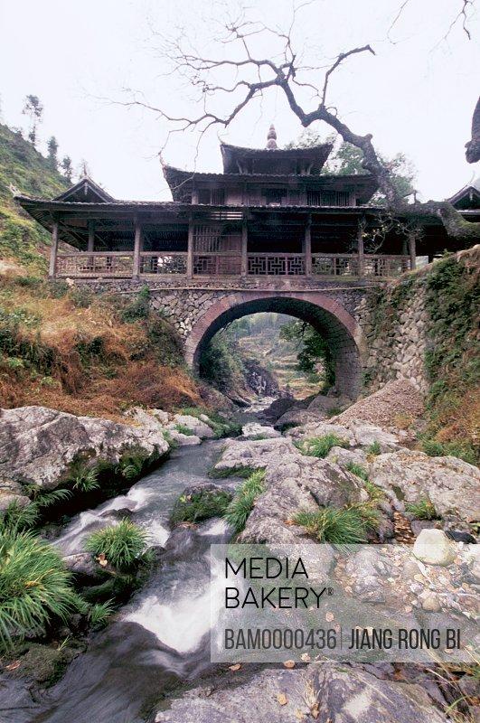 Stream flowing under a structure, Yuwen Bridge Built in Qing Dynasty in Taishun, Taishun County, Zhejiang Province, People's Republic of China