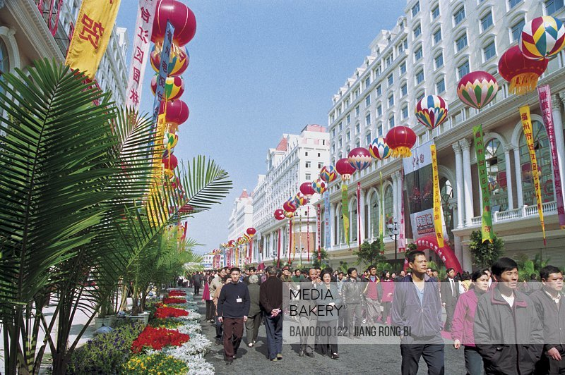 People walking on the Zhongting street by buildings, Opening ceremong of Zhongting street, Fuzhou City, Fujian Province, People's Republic of China