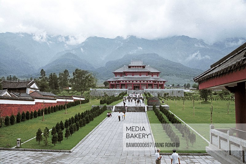 People in front of Dali Congsheng Temple Built in Tang Dynasty , Dali City, Yunnan Province, People's Republic of China