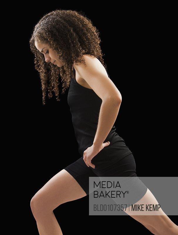 Caucasian woman exercising