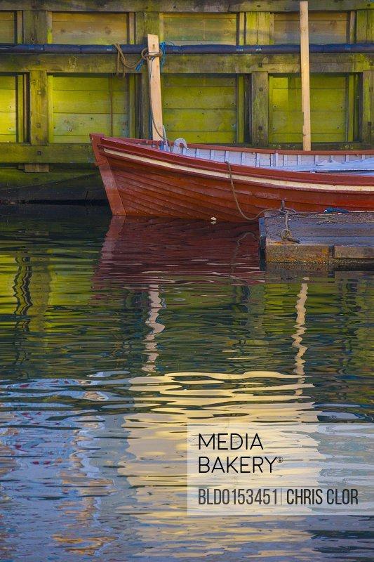 Canoe docked in canal