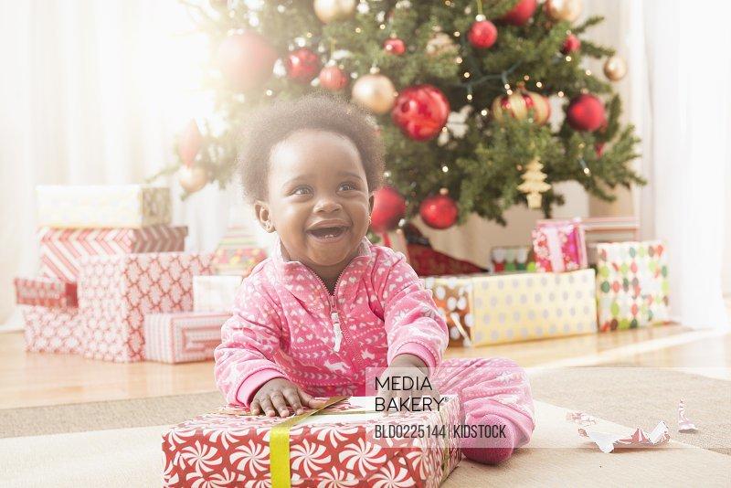 Xmas gift opening baby