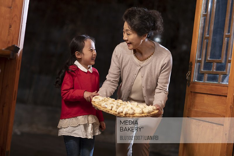 Happy family and dumplings