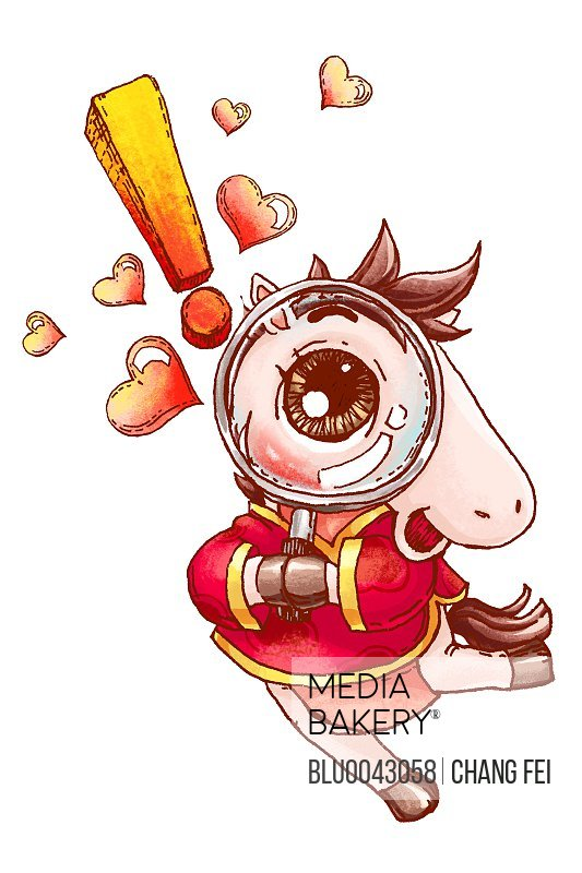 Cute horse with magnifying glass