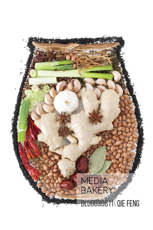 Assorted condiment and spices in jar shape