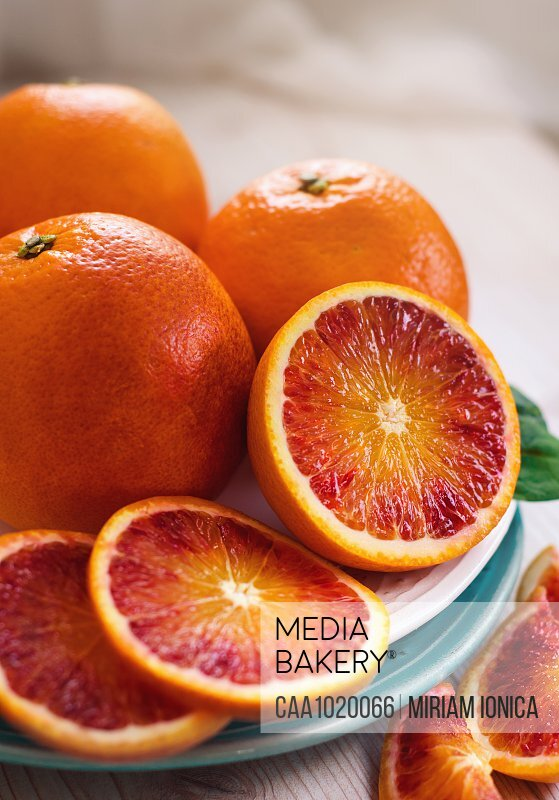 Close up sliced fresh blood oranges