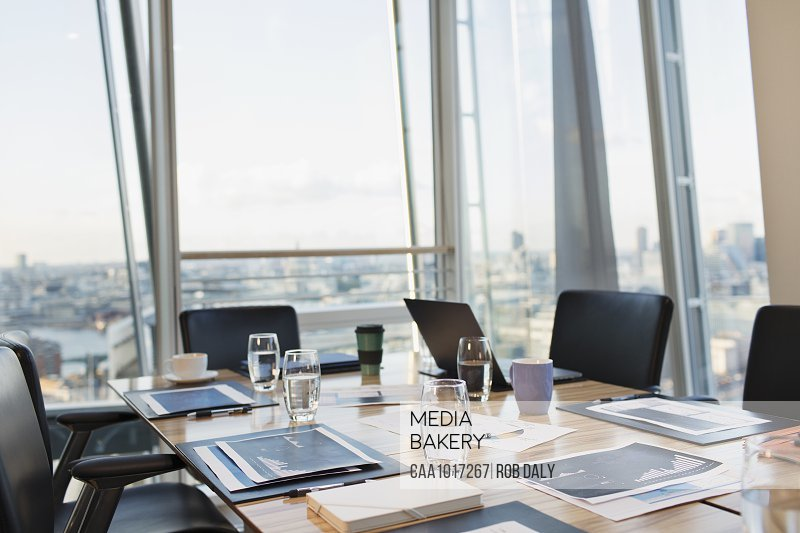 Business conference room overlooking city