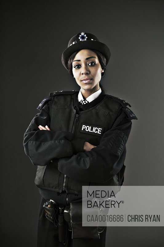 Portrait of serious policewoman