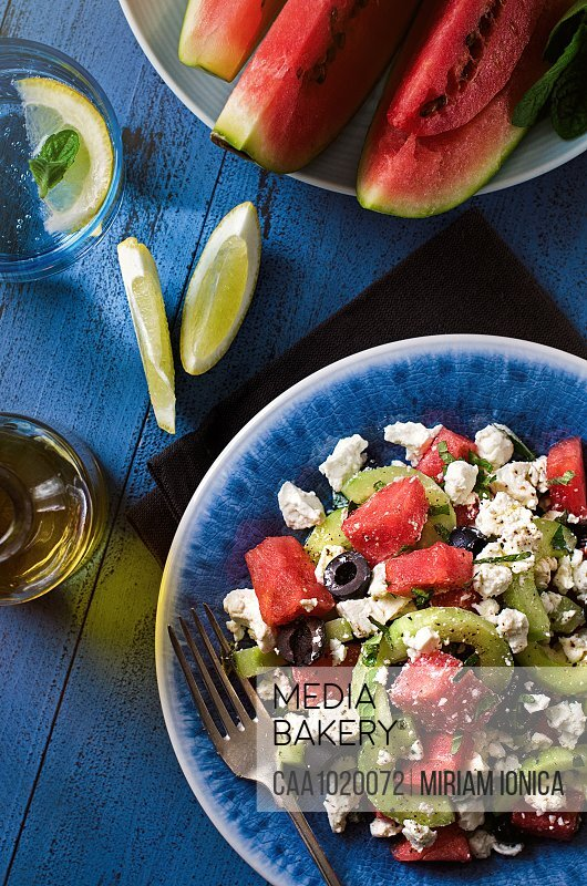 Watermelon feta cucumber olive summer salad