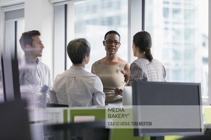 Business people talking, meeting in office
