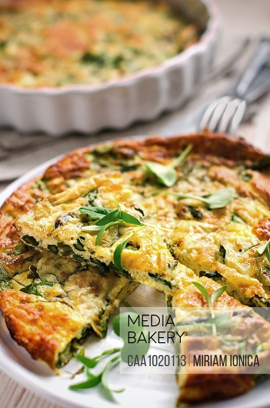 Asparagus watercress frittata with herbs