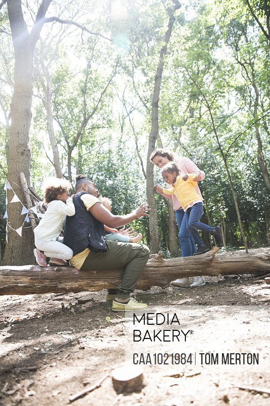 Family playing on fallen log in sunny summer woods