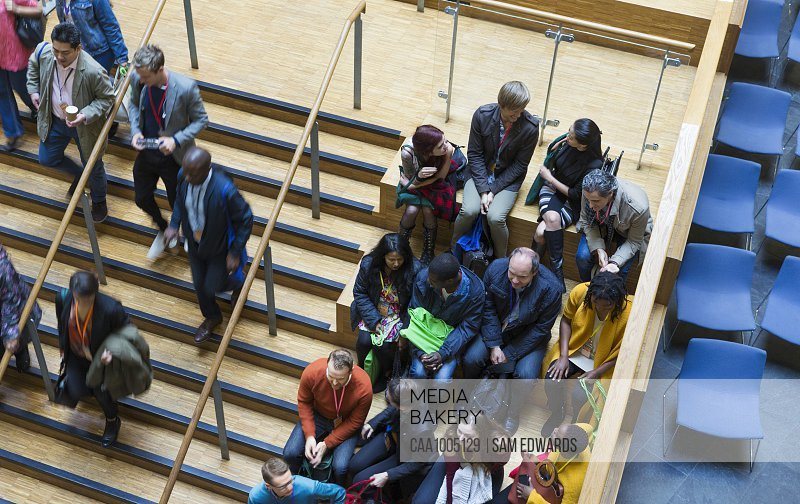 Overhead view of conference audience
