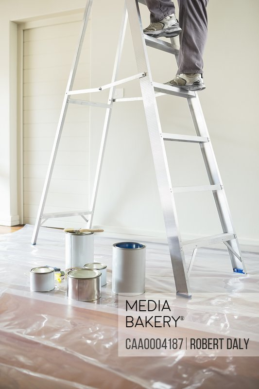 Man climbing ladder to paint room