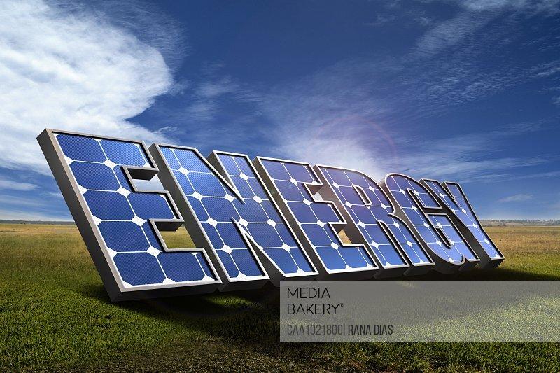 Energy solar panels in sunny rural field