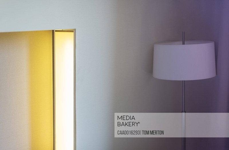 Lamp in corner of hotel room
