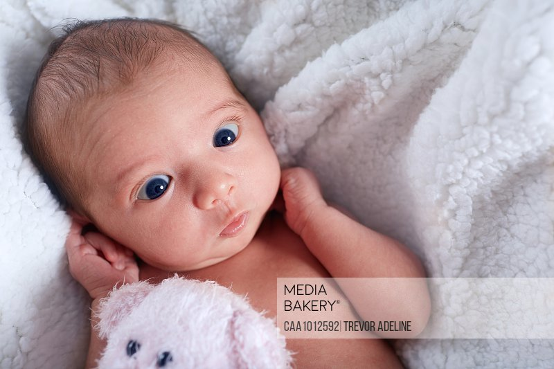 Close up cute newborn baby