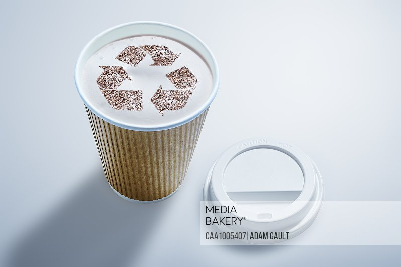 Recycle symbol in recyclable coffee cup