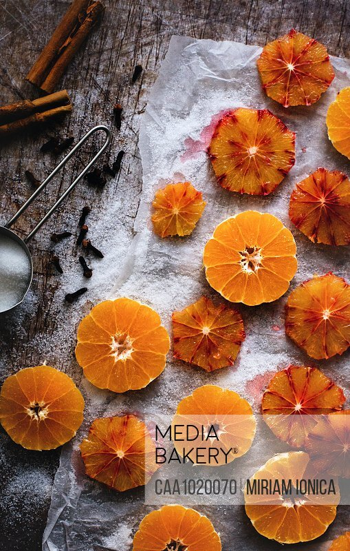 Preserved clementine and blood orange slices