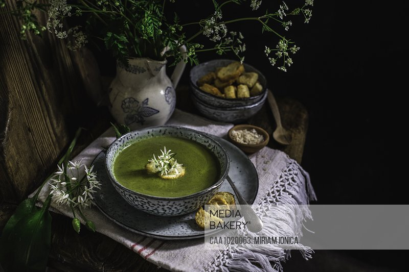 Green nettle and wild garlic soup with croutons