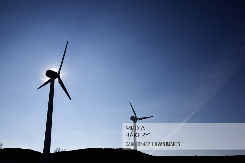 Wind turbines for electric power production in Spain.