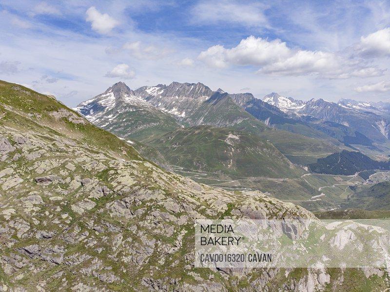 View of Swiss Alps mountain range