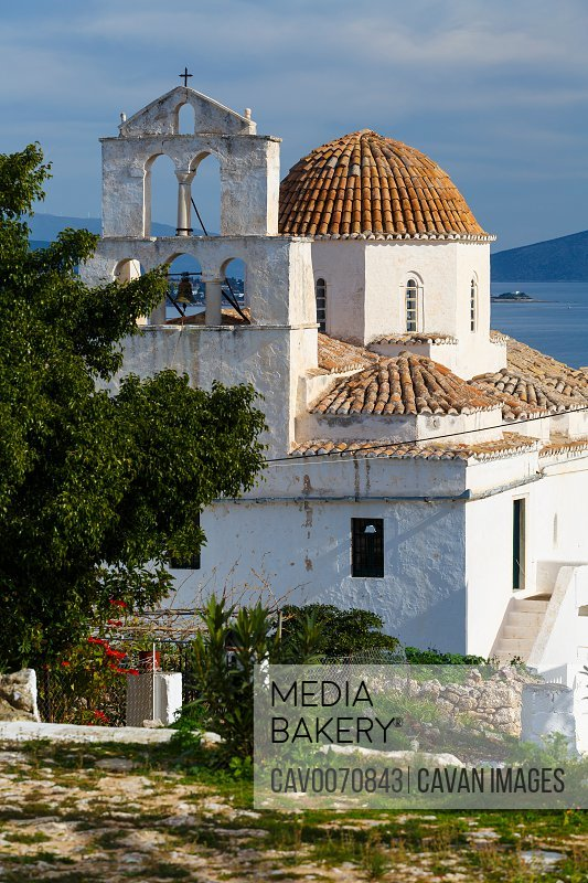 One of the main churches in Spetses village, Greece.