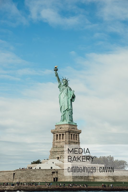 Front view of Statue of Liberty on Liberty Island New York City.