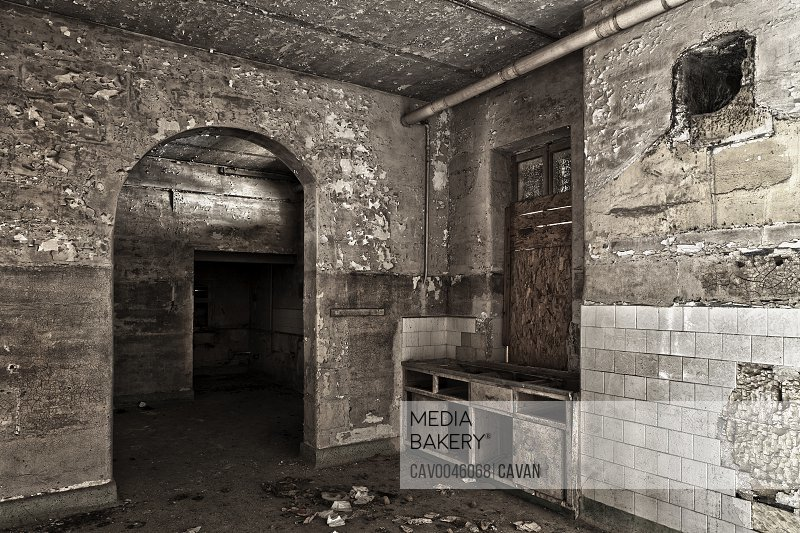 Old abandoned kitchen in derelict room
