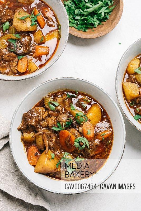 Beef stew recipe flat lay still life