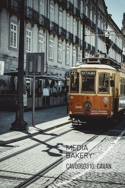 Trolley Car in Oporto Streets<br><br><span style='color: red'>Editorial Use Only.</span><br><br>