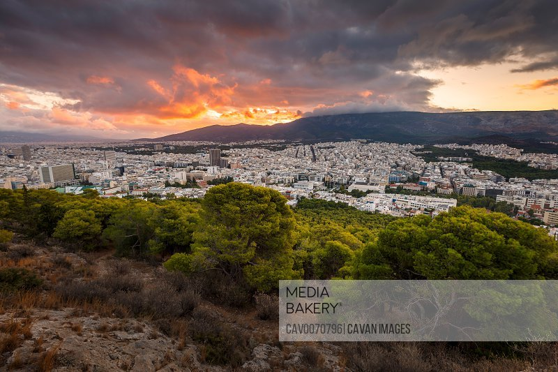 View of Athens from Lycabettus hill at sunrise, Greece.