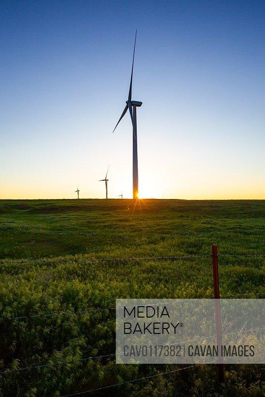 Sunset on Kansas Wind Farm