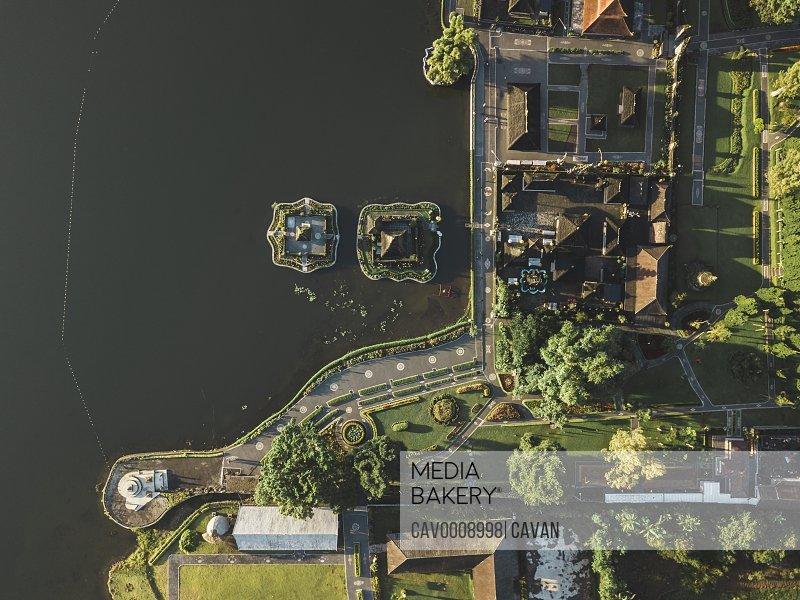 Aerial view of Temple Pura Ulun Danu, Baratan lake