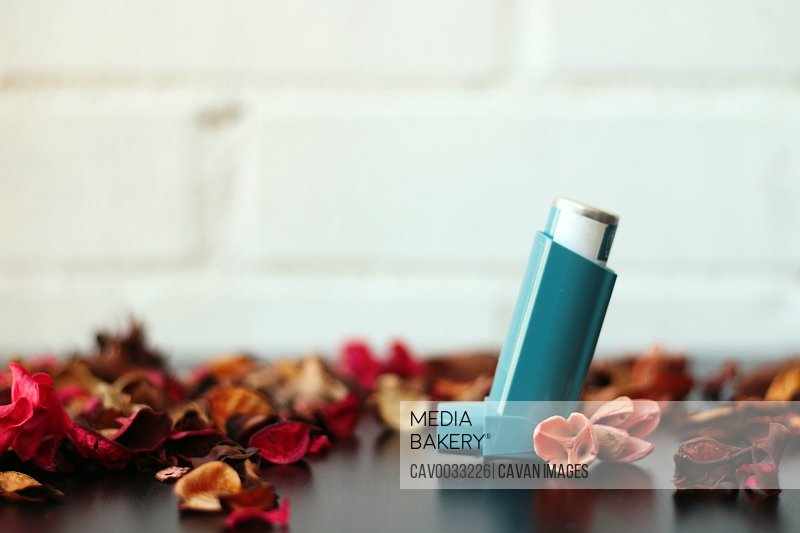 Medicine and health concept: Blue inhaler for an asthma attack.