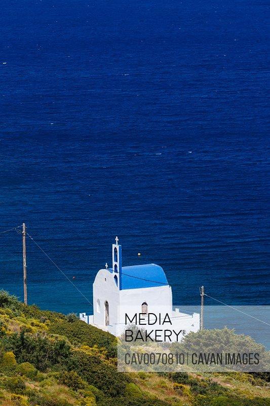 Church on Thymaina island in Fourni Korseon, Greece.