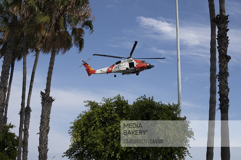 Coast Guard Helicopter landing in a metropolitian area<br><br><span style='color: red'>Editorial Use Only.</span><br><br>