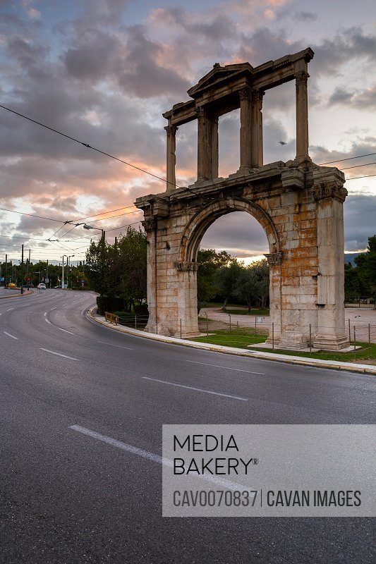 Hadrian's Arch monument on the edge of the old town of Athens, Greece.