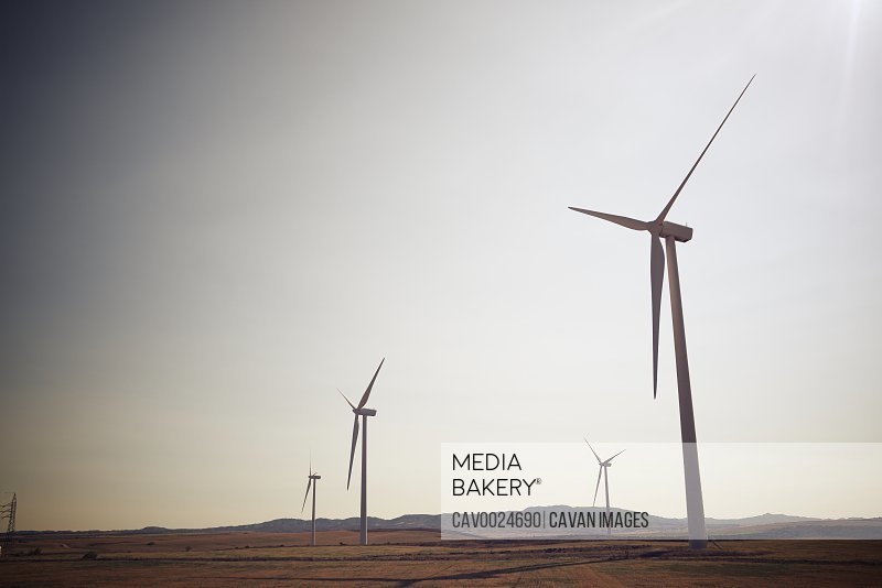 Windmills for renewable electric production in Zaragoza Province, Aragon, Spain.