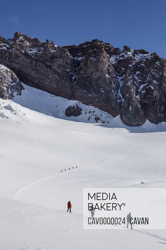 Climbing Teams Descend a Trail Above Camp Muir on Mount Rainier<br><br><span style='color: red'>Editorial Use Only.</span><br><br>