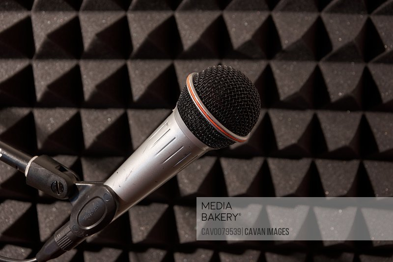 dynamic stand microphone in a music studio