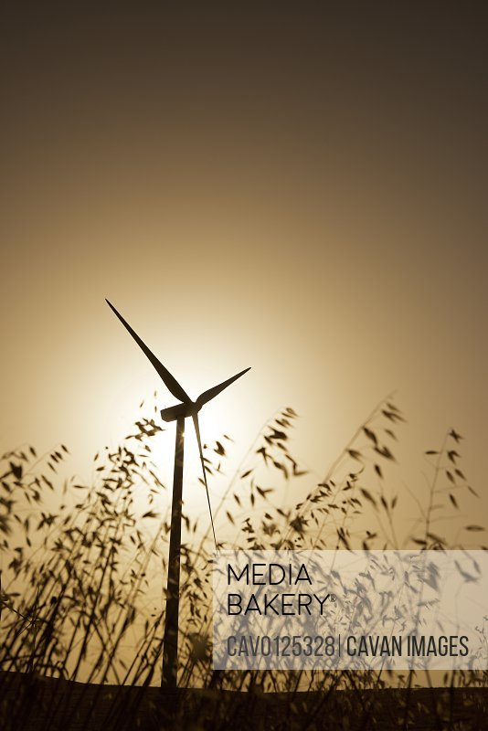 Windmill for electric power production at sunrise.