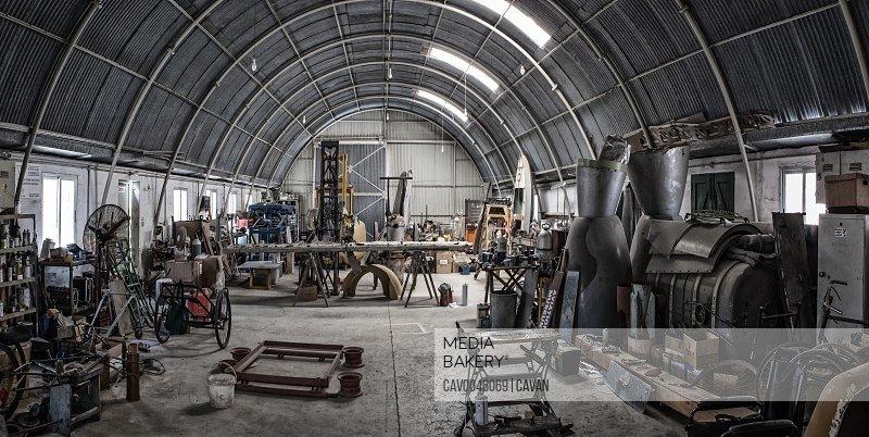 Abandoned workshop in old WWII era nissen hut