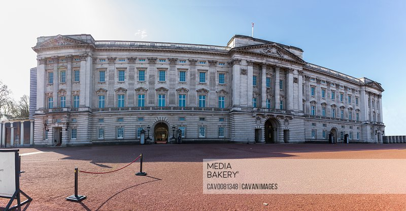 Panoramic of Buckingham Palace in London