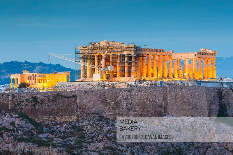 Acropolis and Parthenon temple in the city of Athens, Greece.