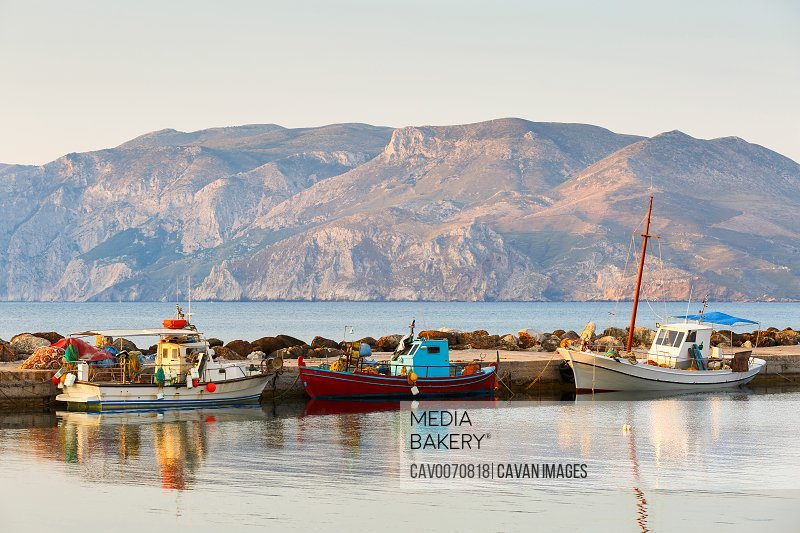 Fishing boats in a harbour near Molos village on Skyros island, Greece