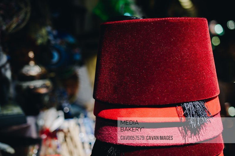 Turkish traditional red hat fez, fes or tarboosh with arabic  or