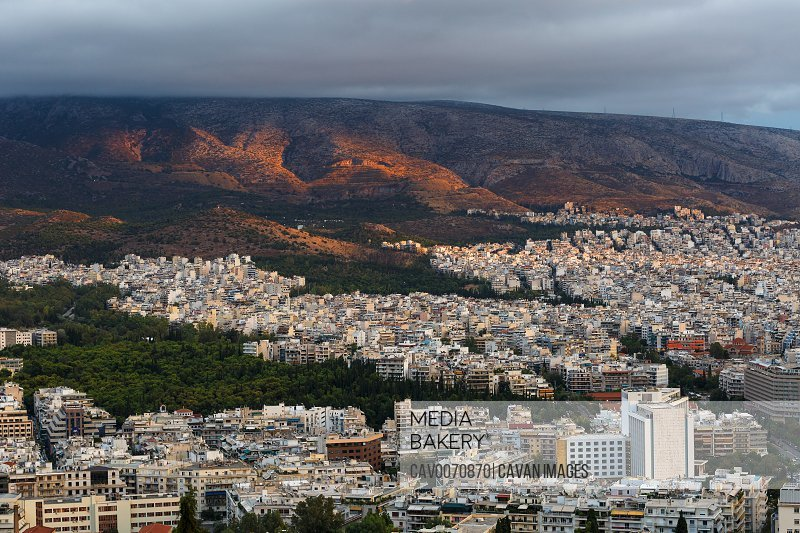 View of eastern Athens from Lycabettus hill, Greece.